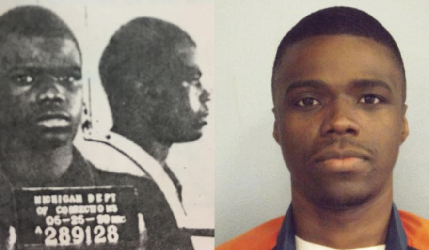 ADVANCE FOR USE MONDAY, JULY 31, 2017 AND THEREAFTER-This combination of photos made available by the Michigan Department of Corrections shows a younger Ahmad Rashad Williams and in April 2014. Williams' mother, a crack addict, died when he was 10. His grandmother, who raised him in Grand Rapids, Mich., died soon after. By the time Williams shot and killed Derek Pimpleton in a dispute over marijuana, he was smoking it every day and regularly skipping school. Both boys were 15. (MDOC via AP)