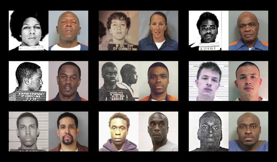 "ADVANCE FOR USE MONDAY, JULY 31, 2017 AND THEREAFTER-This combination of photos shows shows younger and older photos of ""juvenile lifers,"" top row from left, William Washington, Jennifer M. Pruitt and John Sam Hall; middle row from left, Damion Lavoial Todd, Ahmad Rashad Williams and Evan Miller; bottom row from left, Giovanni Reid, Johnny Antoine Beck, and Bobby Hines. During the late 1980 and into the 1990s, many states enacted laws to punish juvenile criminals like adults and the U.S. became an international outlier, sentencing offenders under 18 to live out their lives in prison for homicide and, sometimes, rape, kidnapping, armed robbery. (Michigan Department of Corrections, Pennsylvania Department of Corrections, Lawrence County Alabama Sheriff's Office, Alabama Department of Corrections via AP)"