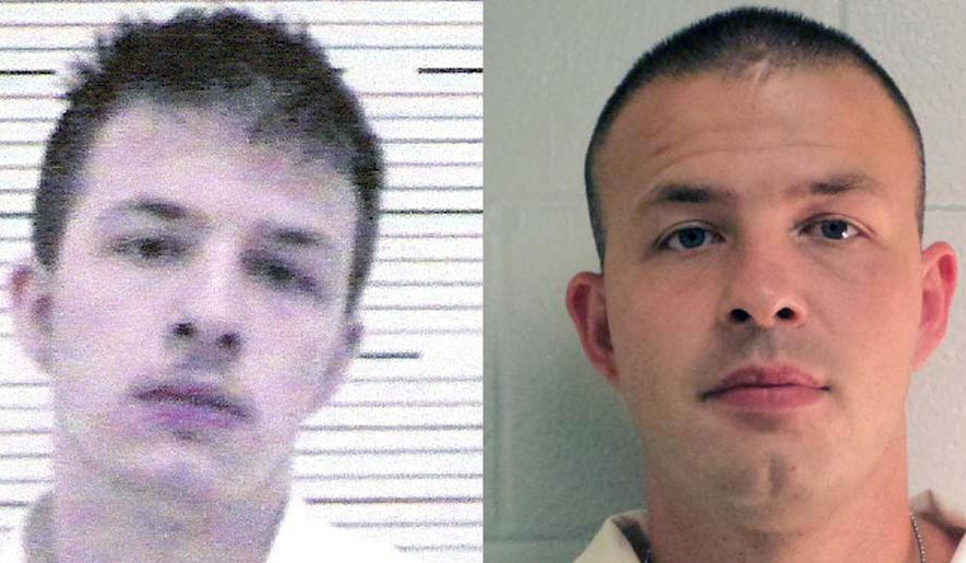 ADVANCE FOR USE MONDAY, JULY 31, 2017 AND THEREAFTER-This combination of photos from the Lawrence County Alabama Sheriff's Office and the Alabama Department of Corrections shows Evan Miller on Nov. 4, 2005 and later. Miller was convicted at the age of 14 for the 2003 murder of Cole Cannon. (Lawrence County Alabama Sheriff's Office, Alabama Department of Corrections/The Decatur Daily via AP)