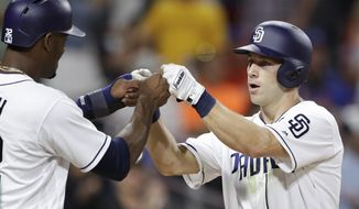 San Diego Padres' Dusty Coleman, right, is greeted by Jabari Blash after Coleman's three-run home run during the fifth inning of the team's baseball game against the New York Mets on Thursday, July 27, 2017, in San Diego. (AP Photo/Gregory Bull)