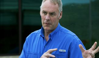 U.S. Interior Secretary Ryan Zinke gives a press conference at the New Mexico Farm and Ranch Heritage Museum, in Las Cruces, N.M., Thursday July 27, 2017. Zinke is visiting New Mexico this week as part of his nationwide tour connected to a review of 27 national monument designations. (Josh Bachman /The Las Cruces Sun-News via AP)