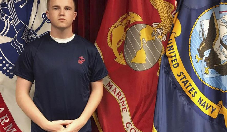In this undated photo provided by the U.S. Marine Corps, Tyler Jarrell, 18, poses for a photo. Jarrell was killed in a thrill ride accident at the Ohio State Fair on Wednesday, July 26, 2017, in Columbus, Ohio. The Marine Corps and school officials said Jarrell enlisted last week and was going to begin basic training next summer after his high school graduation. (U.S. Marine Corps via AP)