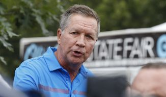 Ohio Gov. John Kasich speaks at a news conference at the Ohio State Fair, Thursday, July 27, 2017, in Columbus, Ohio. (AP Photo/Jay LaPrete) ** FILE **