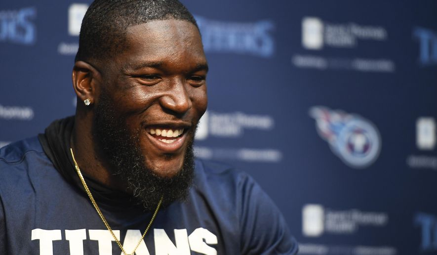 Tennessee Titans outside linebacker Brian Orakpo addresses the media at St. Thomas Sports Park before the start of NFL football training camp Friday, July 28, 2017, in Nashville, Tenn. (George Walker IV/The Tennessean via AP)