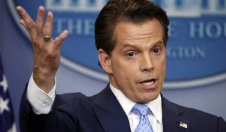 In this July 21, 2017, file photo, White House communications director Anthony Scaramucci gestures as he answers a question during a press briefing in the Brady Press Briefing room of the White House in Washington. Scaramucci offered newsroom leaders a test on Thursday. They needed to decide whether to fully use the obscenities relied on by Scaramucci to describe fellow White House aides or talk around them. (AP Photo/Pablo Martinez Monsivais, File)