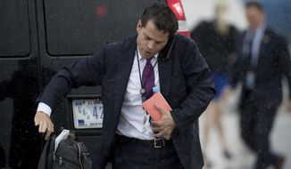 White House  communications director Anthony Scaramucci arrives at Andrews Air Force Base, Md., Friday, July 28, 2017, to board Air Force One to travel with President Donald Trump to Brentwood, N.Y. close to where the ultra-violent street gang MS-13 has committed a string of gruesome murders. (AP Andrew Harnik)