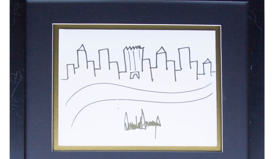 Donald Trump Signed Drawing of the New York City Skyline -- Rare Original Artwork by the President. Image provided by Nate D. Sellers Auctions (Nate Sellers Auctions)