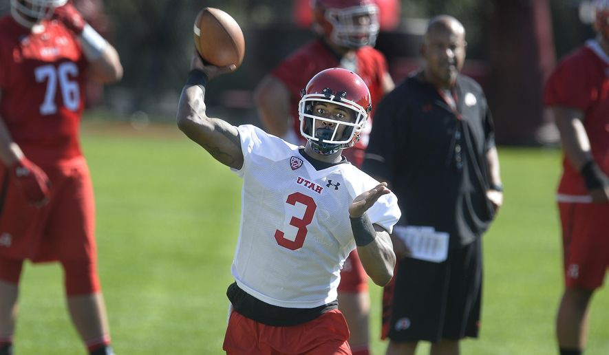 Utah quarterback Troy Williams throws during the first day of NCAA college football practice for the team Friday, July 28, 2017, in Salt Lake City. (Scott Sommerdorf/The Salt Lake Tribune via AP)