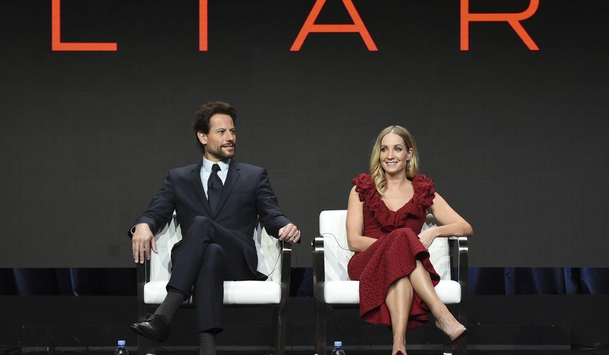 "Ioan Gruffudd, left, and Joanne Froggatt participate in the ""Liar"" panel during the AMC and Sundance TV Television Critics Association Summer Press Tour at the Beverly Hilton on Saturday, July 29, 2017, in Beverly Hills, Calif. (Photo by Richard Shotwell/Invision/AP)"