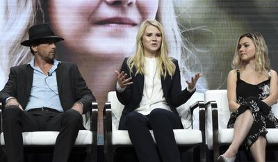 "Skeet Ulrich, from left, Elizabeth Smart and Alana Boden attend the ""I am Elizabeth Smart"" panel during the A&E portion of the 2017 Summer TCA's at the Beverly Hilton Hotel on Friday, July 28, 2017, in Beverly Hills, Calif. (Photo by Richard Shotwell/Invision/AP)"
