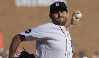 Detroit Tigers starting pitcher Matthew Boyd throws during the first inning of the team's baseball game against the Houston Astros, Saturday, July 29, 2017, in Detroit. (AP Photo/Carlos Osorio)