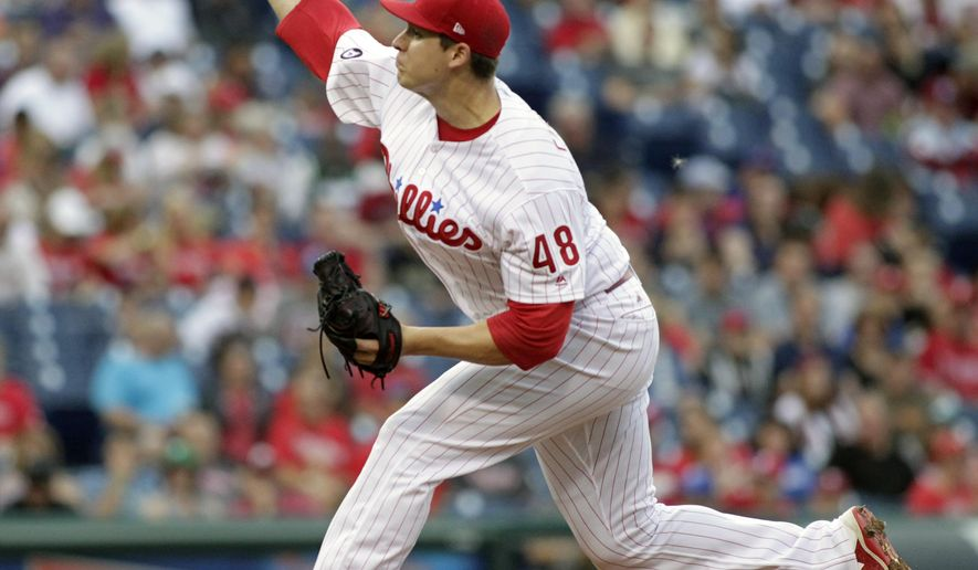 Philadelphia Phillies starting pitcher Jerad Eickhoff throws during the first inning of a baseball game against the Atlanta Braves, Saturday, July 29, 2017, in Philadelphia. (AP Photo/Tom Mihalek)