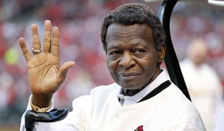 "FILE - This May 17, 2017 file photo shows Lou Brock, a member of the St. Louis Cardinals' 1967 World Series championship team, taking part in a ceremony honoring the 50th anniversary of the victory before the start of a baseball game between the St. Louis Cardinals and the Boston Red Sox in St. Louis. Brock says he is free of cancer more than three months after the 78-year-old St. Louis Cardinals great announced he had been diagnosed with a type of blood cancer. Brock said in a statement Friday, July 28, 2017 that a doctor's diagnosis that he had conquered multiple myeloma was ""the greatest news ever."" (AP Photo/Jeff Roberson, file)"