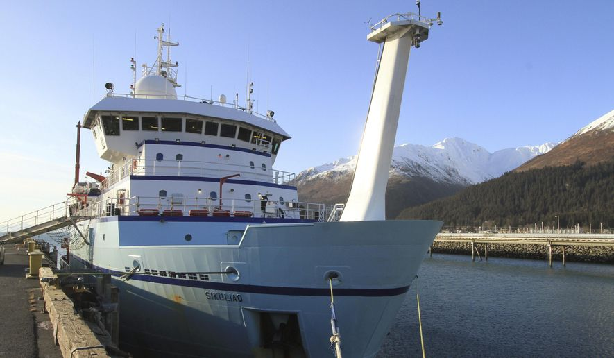 ADVANCE FOR WEEKEND USE- FILE- This Feb. 25, 2015, file photo shows the University of Alaska Fairbanks National Science Foundation research ship Sikuliaq is moored in Seward, Alaska. University scientists and researchers from the College of Fisheries and Ocean Sciences spent the month of June aboard Sikuliaq studying spring productivity and food web dynamics as well as the negative effects that disappearing sea ice cover may have on Arctic habitats. (AP Photo/Dan Joling, File)