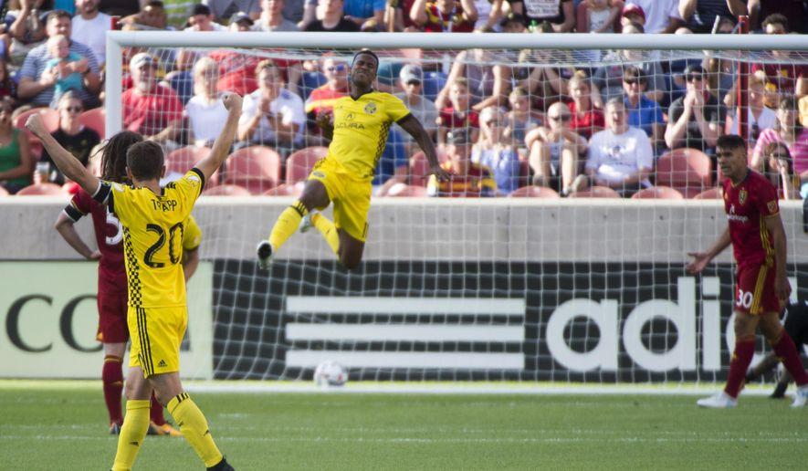 Columbus Crew's Ola Kamara (11) celebrates after scoring a goal against Real Salt Lake during an MLS soccer match Saturday, July 29, 2017, in Sandy Utah. (Rick Egan/The Salt Lake Tribune via AP)