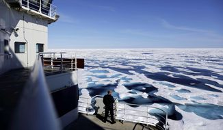 Supporters of arming icebreakers note that the Coast Guard ships are the only American heavy vessels able to traverse the massive glaciers and ice drifts that pockmark the Arctic waterways, but opponents say it sends a dangerous signal to Russia. (Associated Press/File)