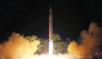 This Friday, July 28, 2017, photo distributed by the North Korean government on Saturday, July 29, 2017, shows what was said to be the launch of a Hwasong-14 intercontinental ballistic missile at an undisclosed location in North Korea. Korean Central News Agency/Korea News Service via AP) ** FILE **