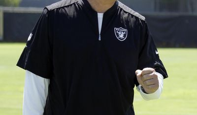 Oakland Raiders coach Jack Del Rio gestures during an NFL football training camp on Saturday, July 29, 2017, in Napa, Calif. (AP Photo/Ben Margot)