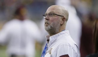FILE - In this Dec. 28, 2015, file photo, then-Minnesota football coach Jerry Kill watches from the sidelines during the first half of the team's Quick Lane Bowl NCAA college football game against Central Michigan, in Detroit. Jerry Kill has been seizure-free for almost a year and a half. The former Minnesota coach still needs medication to treat his epilepsy and control the seizures that forced him to leave coaching during the 2015 season, but lifestyle changes have been an important part of facing down his condition. Kill has returned to coaching as offensive coordinator with Rutgers. (AP Photo/Carlos Osorio, File)