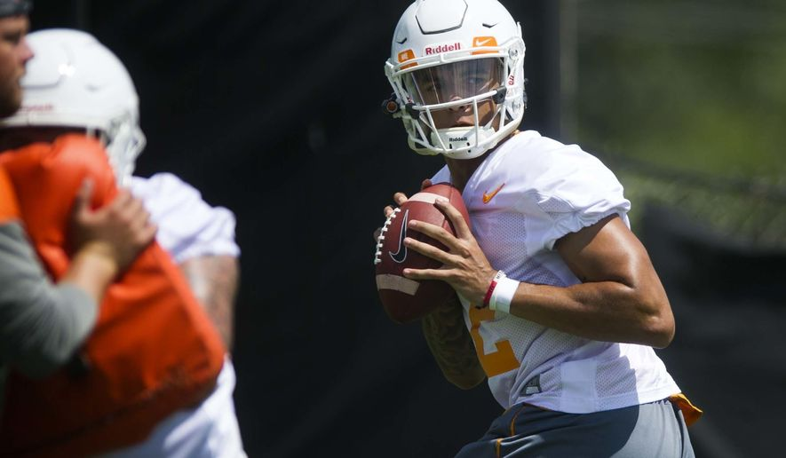 Tennessee quarterback Jarrett Guarantano participates in NCAA college football practice at Anderson Training Facility in Knoxville, Tenn., Saturday, July 29, 2017, in Knoxville, Tenn. (Catie McMekin/Knoxville News Sentinel via AP)