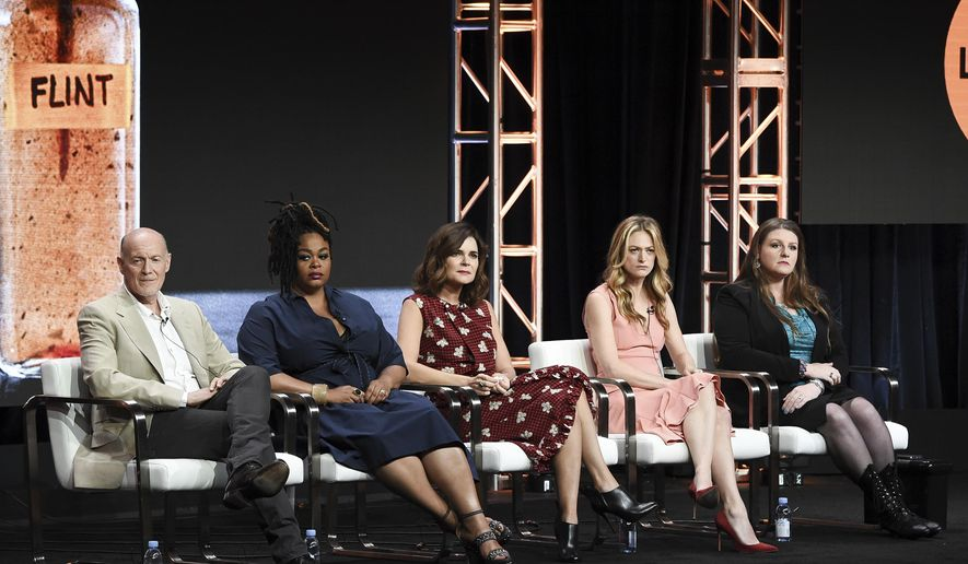 """Neil Meron, from left, Jill Scott, Betsy Brandt, Marin Ireland and Melissa Mays attend the """"Flint"""" panel during the A&E portion of the 2017 Summer TCA's at the Beverly Hilton Hotel on Friday, July 28, 2017, in Beverly Hills, Calif. (Photo by Richard Shotwell/Invision/AP)"""