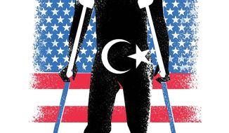 Illustration on rehabilitating Libya as a viable nation by Linas Garsys/The Washington Times