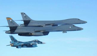 U.S. supersonic bombers flown from the Anderson Air Force Base in Guam conducted a joint exercise with the South Korean air force over the Korean Peninsula on Sunday. (Associated Press)