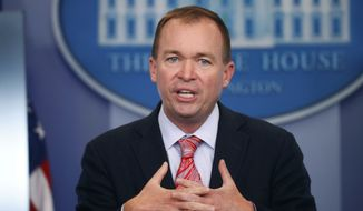 In this Thursday, July 20, 2017, file photo, Budget Director Mick Mulvaney gestures as he speaks during the daily press briefing at the White House in Washington. (AP Photo/Pablo Martinez Monsivais, File)
