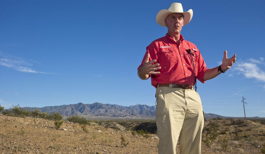 U.S. Interior Secretary Ryan Zinke speaks during a news conference near Gold Butte National Monument in Bunkerville, Nev., Saturday, July 30, 2017. Zinke is touring several national monuments as part of an ongoing review. (Steve Marcus/Las Vegas Sun via AP)