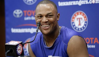 Texas Rangers' Adrian Beltre smiles during a post game interview following their 10-6 loss to the Baltimore Orioles in a baseball game, Sunday, July 30, 2017, in Arlington, Texas. Beltre hit his 3,000th career hit in game. (AP Photo/Tony Gutierrez)