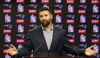 New England Patriots player Rob Ninkovich speaks to the media as he announces his retirement, Sunday, July 30, 2017, at Gillette Stadium in Foxborough, Mass. (AP Photo/Mary Schwalm)
