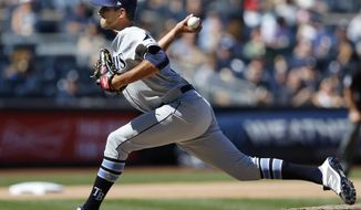 Tampa Bay Rays relief pitcher Steve Cishek throws during the sixth inning of a baseball game against the New York Yankees in New York, Sunday, July 30, 2017. (AP Photo/Kathy Willens)