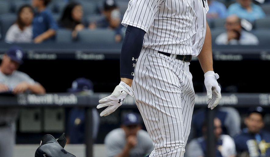 New York Yankees' Aaron Judge drops his batting helmet after striking out against the Tampa Bay Rays to end the third inning of a baseball game, Saturday, July 29, 2017, in New York. (AP Photo/Julie Jacobson)