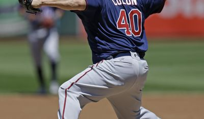 Minnesota Twins pitcher Bartolo Colon works against the Oakland Athletics in the first inning of a baseball game Sunday, July 30, 2017, in Oakland, Calif. (AP Photo/Ben Margot)