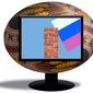 Illustration on Russian cyber attacks on Ukraine by Alexander Hunter/The Washington Times