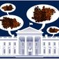 Illustration on foul language by the administration in the White House by Alexander Hunter/The Washington Times