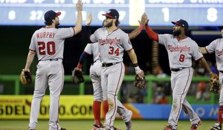 Washington Nationals second baseman Daniel Murphy (20), right fielder Bryce Harper (34) and left fielder Brian Goodwin (8) high-five after a baseball game against the Miami Marlins, Monday, July 31, 2017, in Miami. The Nationals won 1-0. (AP Photo/Lynne Sladky)