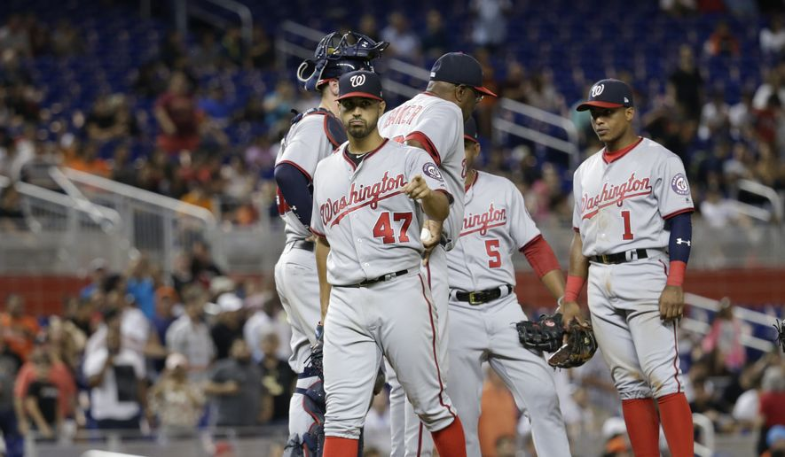 Washington Nationals starting pitcher Gio Gonzalez walks off the mound after being relieved during the ninth inning of a baseball game against the Miami Marlins, Monday, July 31, 2017, in Miami. The Nationals won 1-0. Gonzalez gave up a single to Miami Marlins second baseman Dee Gordon in the ninth inning to end his bid for a no-hitter. (AP Photo/Lynne Sladky)