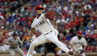 FILE - In this July 26, 2017, file photo, Texas Rangers' Yu Darvish throws to against the Miami Marlins in the fourth inning of a baseball game, in Arlington, Texas. As the hours tick down to baseball's trade deadline, three standout pitchers remain at the center of attention. Sonny Gray, Justin Verlander and Yu Darvish each have the potential to help a contending team down the stretch, and if any of them are traded Monday, July 31, 2017, it would certainly spice up what has been a fairly pedestrian stretch of deals so far. (AP Photo/Tony Gutierrez, File) **FILE**