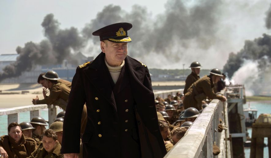 "This image released by Warner Bros. Pictures shows Kenneth Branagh in a scene from ""Dunkirk."" (Melissa Sue Gordon/Warner Bros. Pictures via AP)"