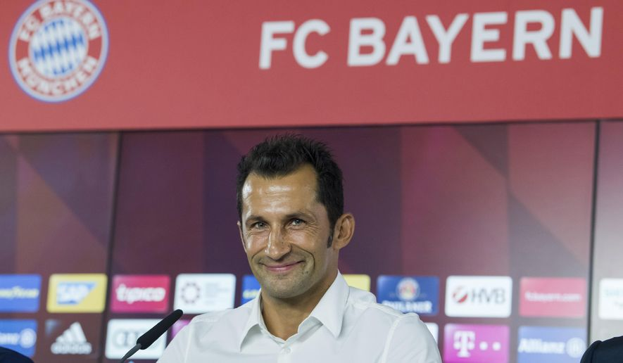 Former soccer player Hasan Salihamidzic attends a news conference in Munich, Germany, Monday, July 31, 2017.  Salihamidzic became new sports director at Bayern, the club announced Monday. He follows Matthias Sammer.  (Peter Kneffel/dpa via AP)