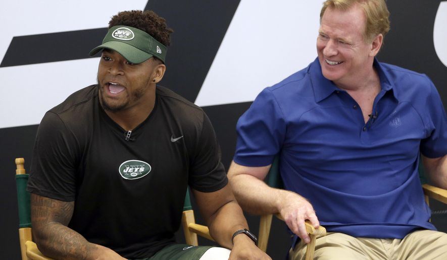 New York Jets' Jamal Adams, left, and NFL commissioner Roger Goodell take questions from fans as part a of fan forum during a NFL football training camp in Florham Park, N.J., Monday, July 31, 2017. (AP Photo/Seth Wenig)