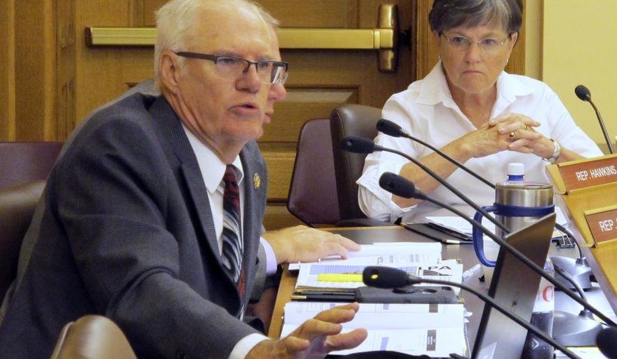 Kansas state Rep. Don Schroeder, R-Hesston, asks a question during a joint legislative committee's review of an audit of a proposal to build a new state prison in Lansing, as Sen. Laura Kelly, D-Topeka, watches to his right, Monday, July 31, 2017, at the Statehouse in Topeka, Kan. The audit contradicts information provided by the Department of Corrections about the least expensive way to pay for the new prison. (AP Photo/John Hanna)