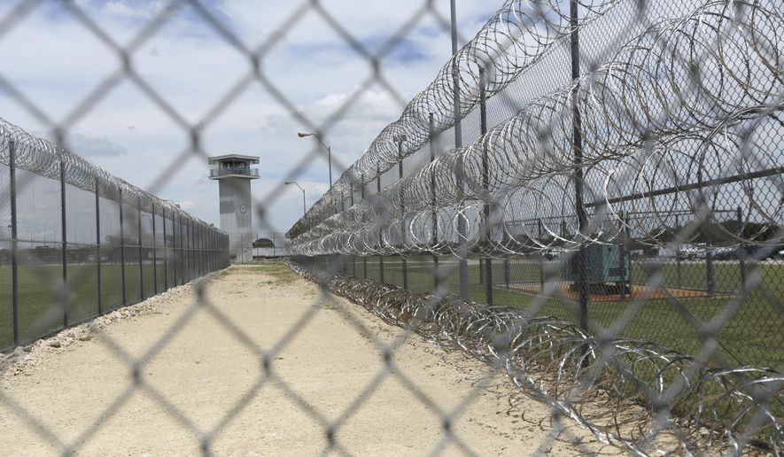 This Wednesday, June 21, 2017 photo shows barbed wire surrounding a prison in Gatesville, Texas. (Associated Press)