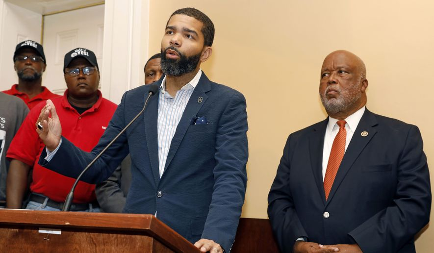 Jackson, Miss., Mayor Chokwe Antar Lumumba, center, expresses his support for a intimidation free union election during a Jackson, Miss., news conference, Monday, July 31, 2017. Lumumba joined Canton, Miss., mayor and U.S. Rep. Bennie Thompson, D-Miss., right, in expressing their support for an intimidation free union vote at the Nissan vehicle assembly plant in Canton, Miss. (AP Photo/Rogelio V. Solis) ** FILE **