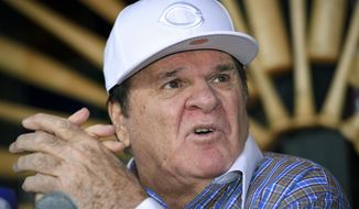 FILE - In this Dec. 15, 2015, file photo, former baseball player and manager Pete Rose speaks during a news conference in Las Vegas. A woman said she had a sexual relationship with Rose in the 1970s, starting when she was 14 or 15 years old, according to her sworn testimony submitted to a court Monday, July 31, 2017, in a federal defamation lawsuit Rose filed in 2016 against John Dowd, the lawyer whose investigation got Rose kicked out of Major League Baseball for gambling. (AP Photo/Mark J. Terrill, File) **FILE**