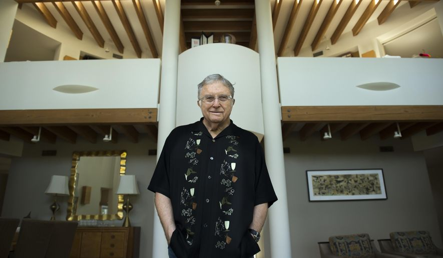 "In this July 27, 2017 photo, singer-songwriter Randy Newman poses for a portrait at his home in Pacific Palisades, Calif., to promote his album, ""Dark Matter."" (Photo by Jordan Strauss/Invision/AP)"
