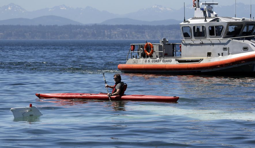 A kayaker paddles past a partially submerged small airplane just offshore in Puget Sound as a U.S. Coast Guard boat is nearby Monday, July 31, 2017, in Seattle. The two occupants escaped without injury. (AP Photo/Elaine Thompson)