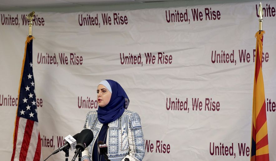 Deedra Abboud announces her candidacy for U.S. Senate, Monday, July 31, 2017, at the Democratic headquarters in Phoenix. Abboud is challenging Sen. Jeff Flake, R-Ariz, for his seat in 2018. (AP Photo/Matt York)