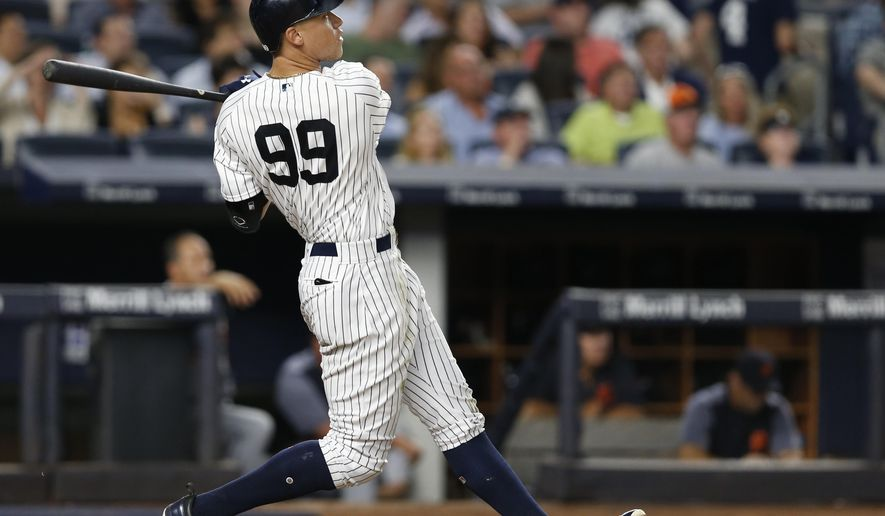 New York Yankees; Judge watches his solo home run during the fifth inning of a baseball game against the Detroit Tigers at Yankee Stadium in New York, Monday, July 31, 2017. (AP Photo/Kathy Willens)